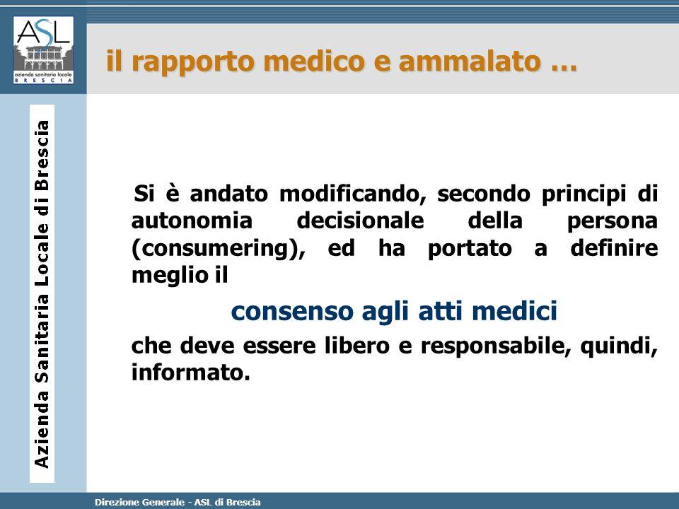 Direzione Generale - ASL di Brescia il rapporto medico e ammalato … Si è andato modificando, secondo principi di autonomia decisionale della persona (