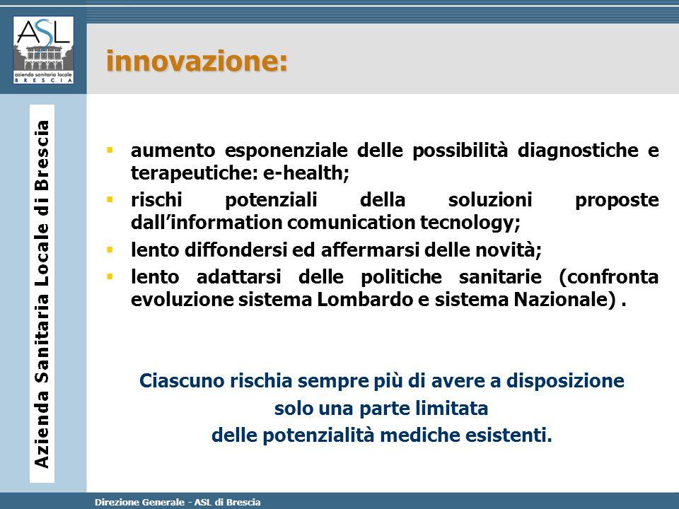 Direzione Generale - ASL di Brescia innovazione: aumento esponenziale delle possibilità diagnostiche e terapeutiche: e-health; rischi potenziali della