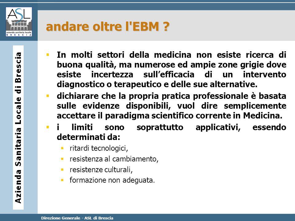 Direzione Generale - ASL di Brescia andare oltre l'EBM ? In molti settori della medicina non esiste ricerca di buona qualità, ma numerose ed ampie zon