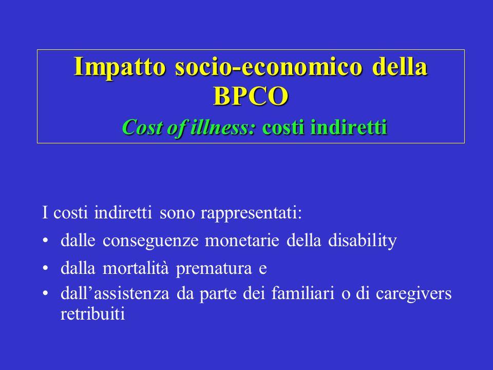 Impatto socio-economico della BPCO Cost of illness: costi indiretti I costi indiretti sono rappresentati: dalle conseguenze monetarie della disability