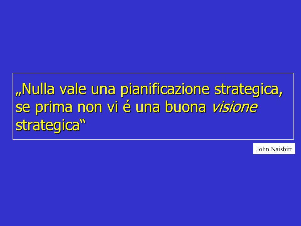 Nulla vale una pianificazione strategica, se prima non vi é una buona visione strategica John Naisbitt