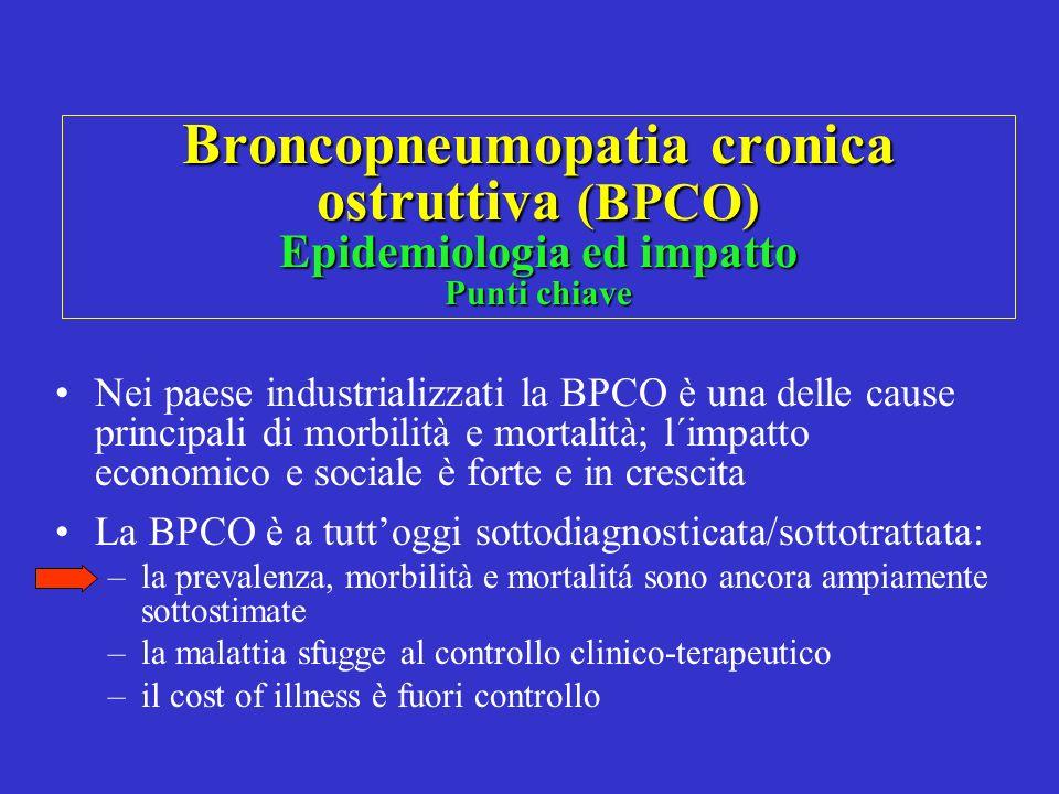 Broncopneumopatia cronica ostruttiva (BPCO) Epidemiologia ed impatto Punti chiave Nei paese industrializzati la BPCO è una delle cause principali di m