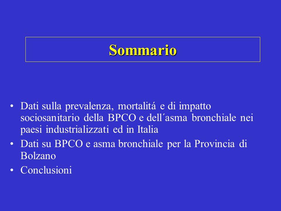 Sommario Dati sulla prevalenza, mortalitá e di impatto sociosanitario della BPCO e dell´asma bronchiale nei paesi industrializzati ed in Italia Dati s