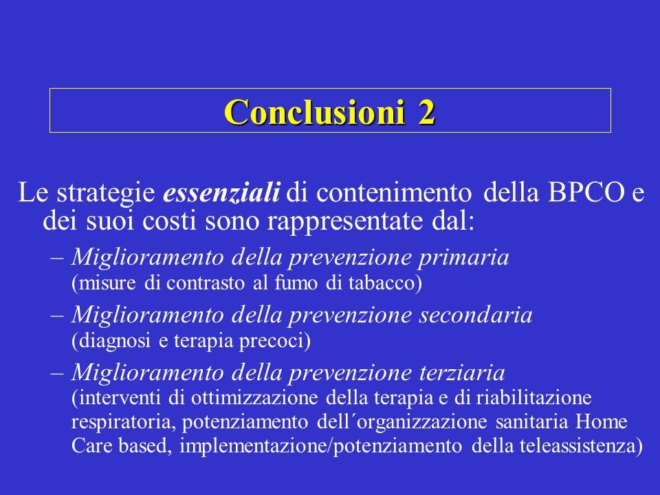 Conclusioni 2 Le strategie essenziali di contenimento della BPCO e dei suoi costi sono rappresentate dal: –Miglioramento della prevenzione primaria (m