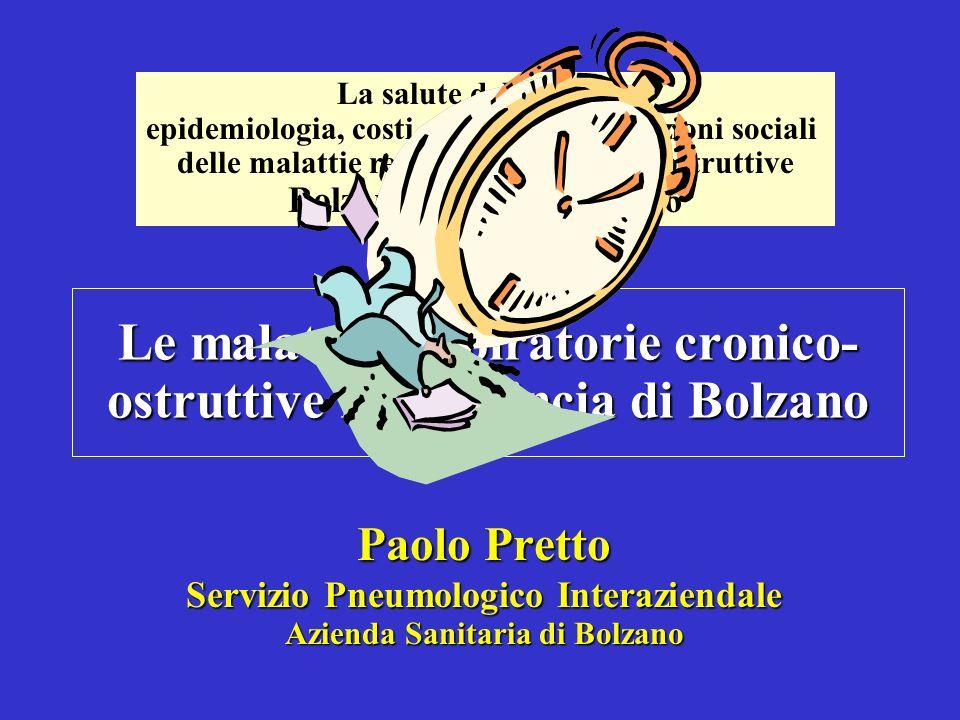 Le malattie respiratorie cronico- ostruttive in Provincia di Bolzano Paolo Pretto Servizio Pneumologico Interaziendale Azienda Sanitaria di Bolzano La