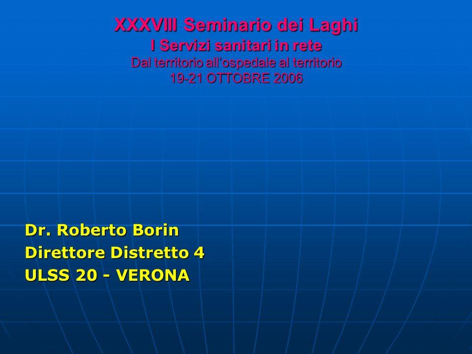 XXXVIII Seminario dei Laghi I Servizi sanitari in rete Dal territorio allospedale al territorio 19-21 OTTOBRE 2006 Dr.
