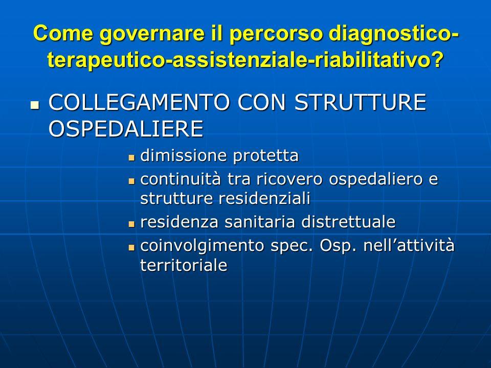 Come governare il percorso diagnostico- terapeutico-assistenziale-riabilitativo.