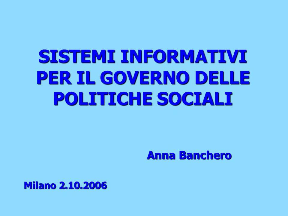 SISTEMI INFORMATIVI PER IL GOVERNO DELLE POLITICHE SOCIALI Anna Banchero Milano 2.10.2006