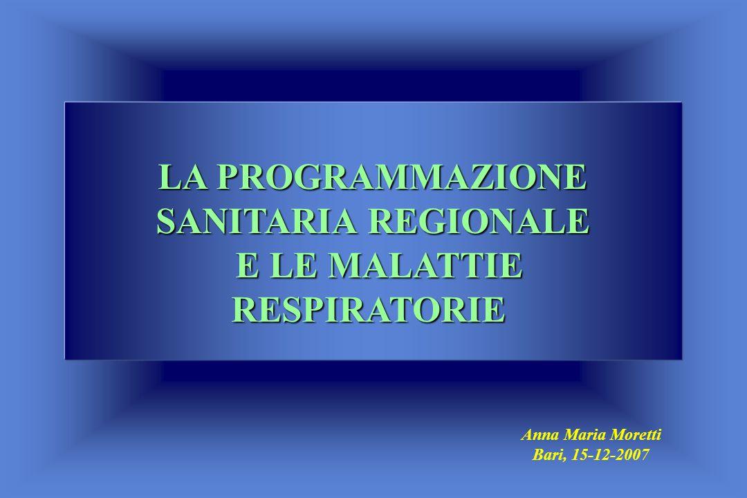 LA PROGRAMMAZIONE SANITARIA REGIONALE E LE MALATTIE RESPIRATORIE Anna Maria Moretti Bari, 15-12-2007