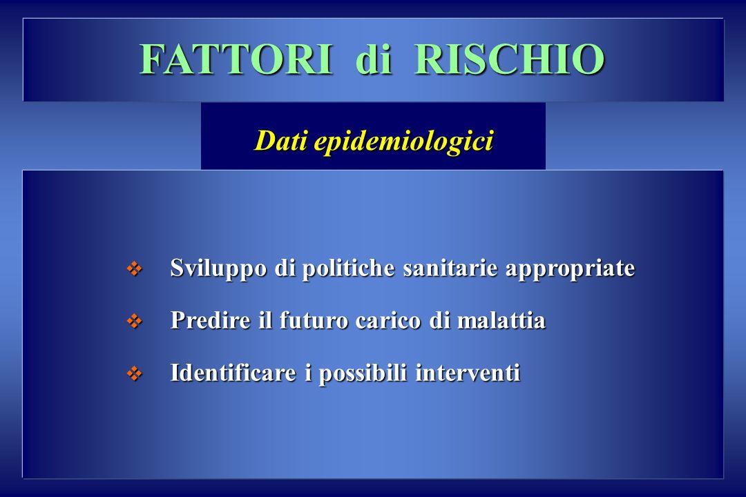 FATTORI di RISCHIO Dati epidemiologici Sviluppo di politiche sanitarie appropriate Sviluppo di politiche sanitarie appropriate Predire il futuro caric