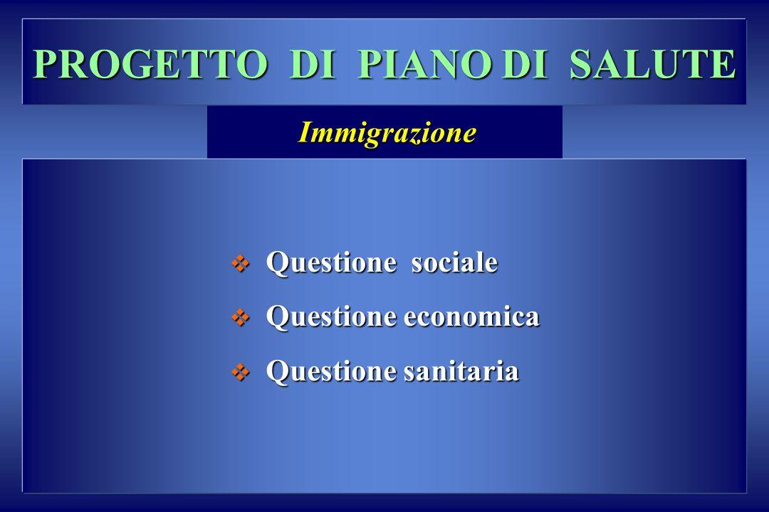 PROGETTO DI PIANO DI SALUTE Questione sociale Questione sociale Questione economica Questione economica Questione sanitaria Questione sanitaria Immigr