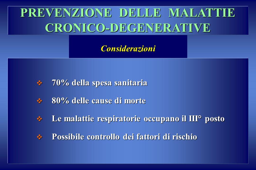 PREVENZIONE DELLE MALATTIE CRONICO-DEGENERATIVE Considerazioni 70% della spesa sanitaria 70% della spesa sanitaria 80% delle cause di morte 80% delle