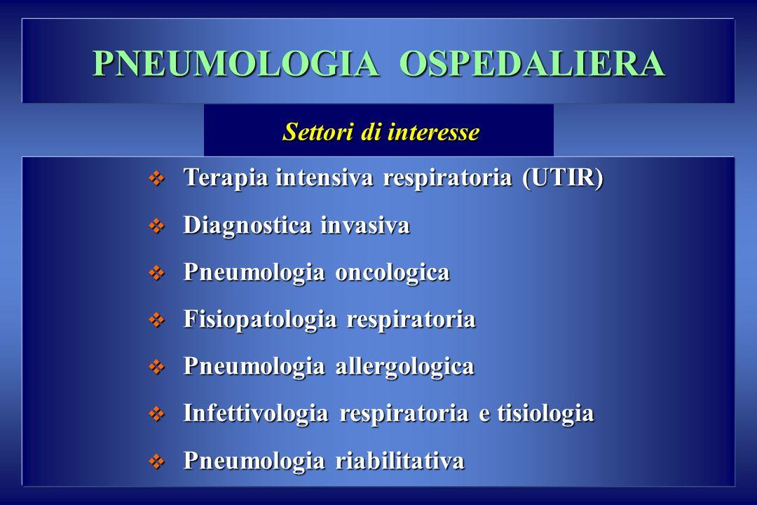 PNEUMOLOGIA OSPEDALIERA Terapia intensiva respiratoria (UTIR) Terapia intensiva respiratoria (UTIR) Diagnostica invasiva Diagnostica invasiva Pneumolo