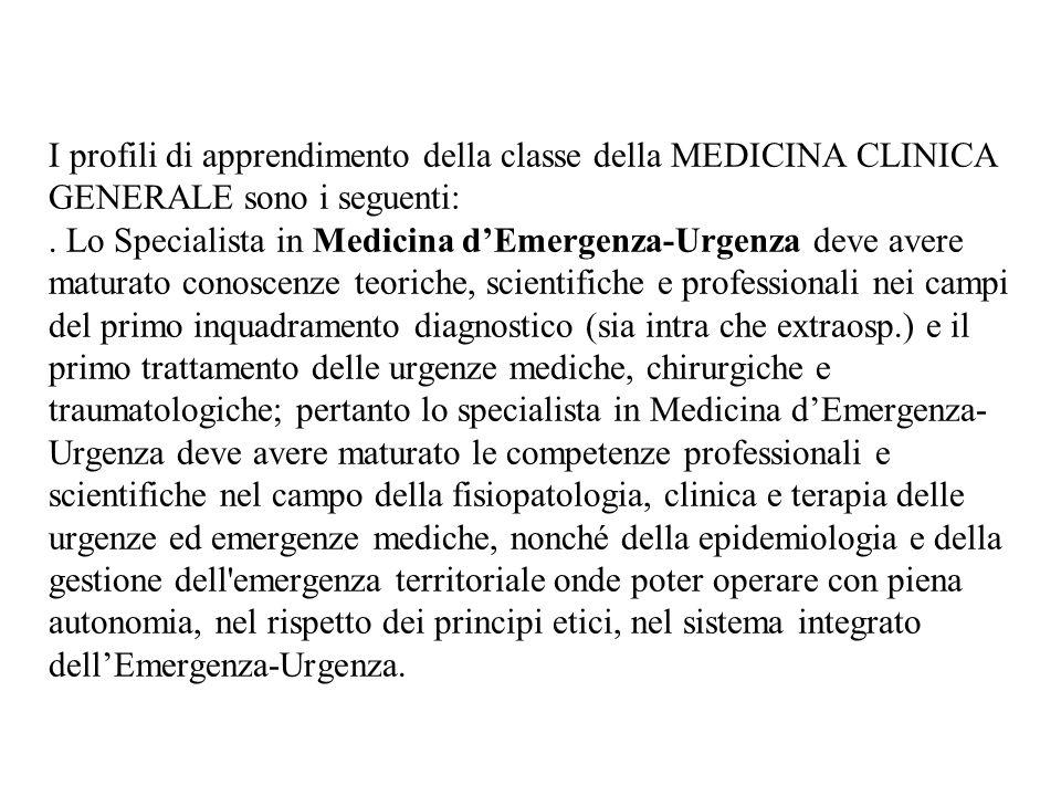 I profili di apprendimento della classe della MEDICINA CLINICA GENERALE sono i seguenti:.