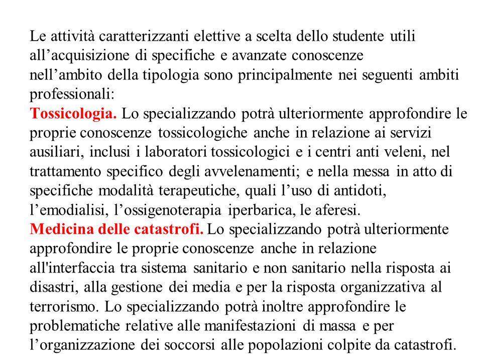 Le attività caratterizzanti elettive a scelta dello studente utili allacquisizione di specifiche e avanzate conoscenze nellambito della tipologia sono principalmente nei seguenti ambiti professionali: Tossicologia.