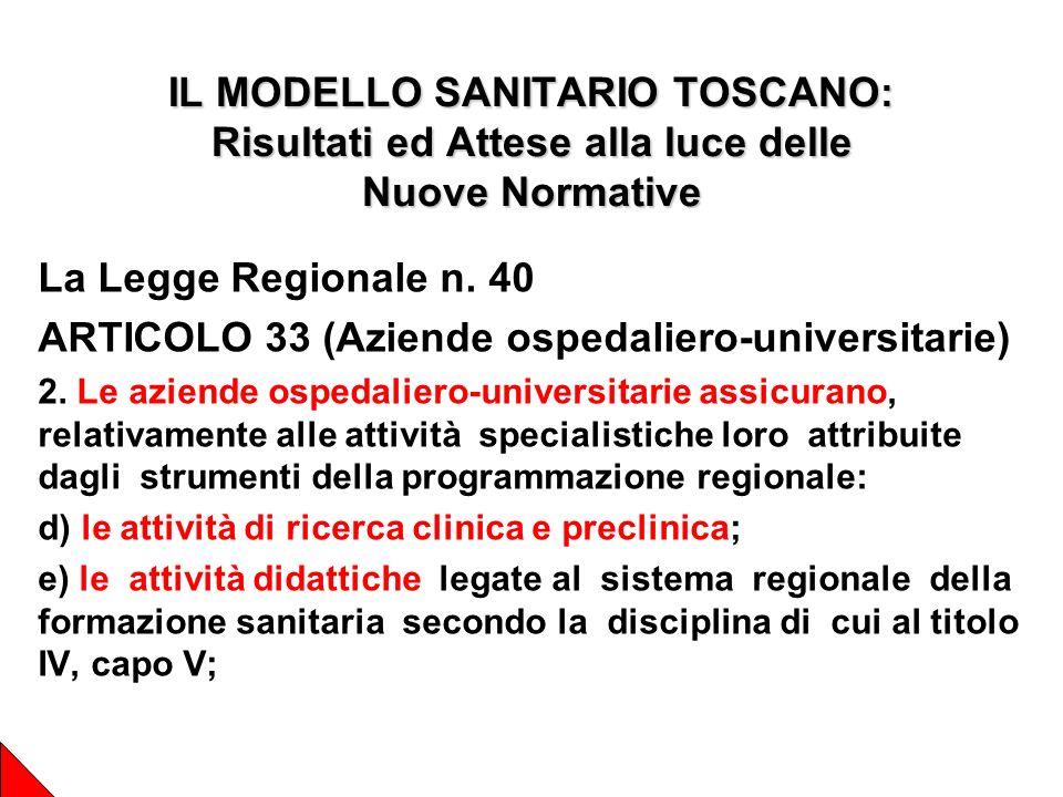 IL MODELLO SANITARIO TOSCANO: Risultati ed Attese alla luce delle Nuove Normative La Legge Regionale n.