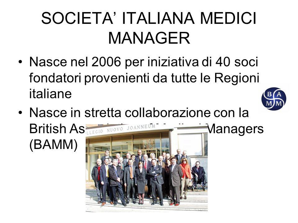 SOCIETA ITALIANA MEDICI MANAGER Nasce nel 2006 per iniziativa di 40 soci fondatori provenienti da tutte le Regioni italiane Nasce in stretta collaborazione con la British Association of Medical Managers (BAMM)