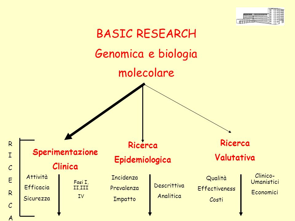 Sperimentazione Clinica Ricerca Epidemiologica Ricerca Valutativa Fasi I, II,III IV Attività Efficacia Sicurezza Descrittiva Analitica Incidenza Prevalenza Impatto Clinico- Umanistici Economici Qualità Effectiveness Costi RICERCARICERCA BASIC RESEARCH Genomica e biologia molecolare