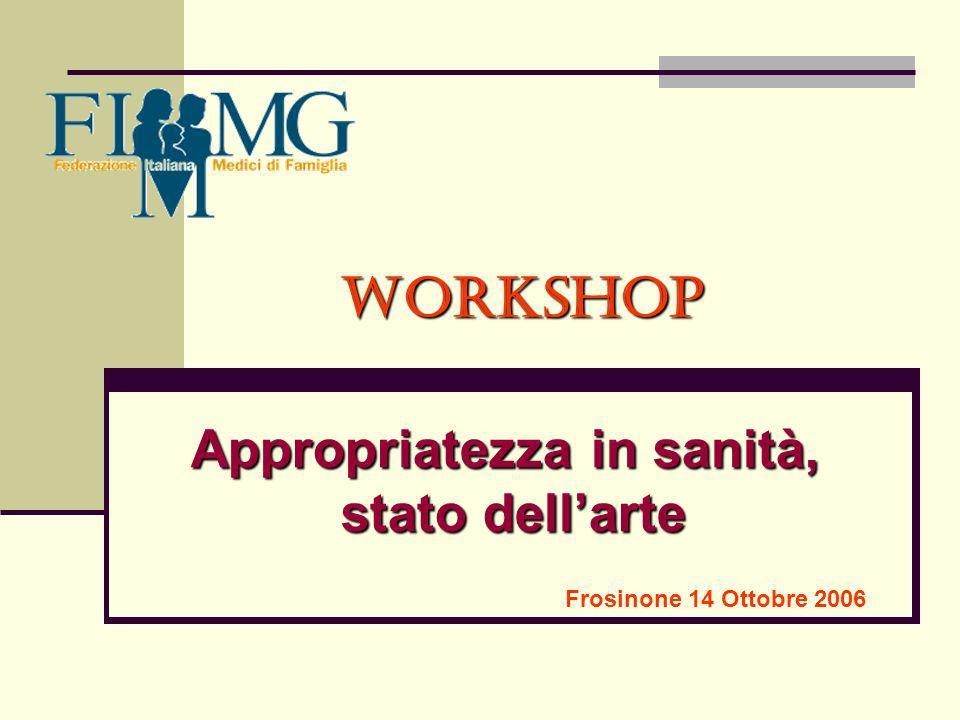 Workshop Appropriatezza in sanità, stato dellarte Frosinone 14 Ottobre 2006