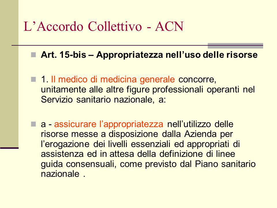 LAccordo Collettivo - ACN Art. 15-bis – Appropriatezza nelluso delle risorse 1.
