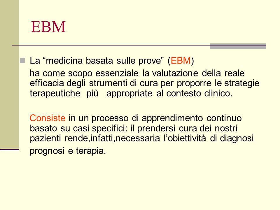 EBM La medicina basata sulle prove (EBM) ha come scopo essenziale la valutazione della reale efficacia degli strumenti di cura per proporre le strategie terapeutiche più appropriate al contesto clinico.