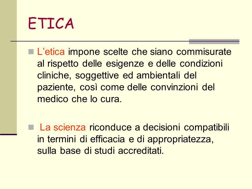 ETICA Letica impone scelte che siano commisurate al rispetto delle esigenze e delle condizioni cliniche, soggettive ed ambientali del paziente, così come delle convinzioni del medico che lo cura.