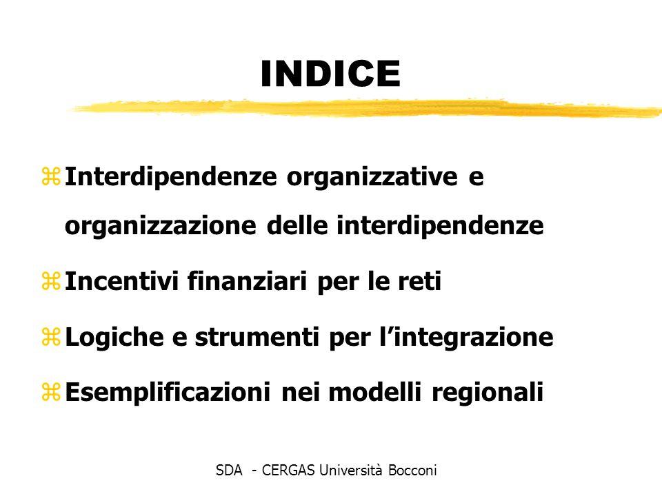 INDICE zInterdipendenze organizzative e organizzazione delle interdipendenze zIncentivi finanziari per le reti zLogiche e strumenti per lintegrazione zEsemplificazioni nei modelli regionali SDA - CERGAS Università Bocconi