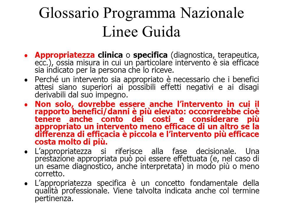 Glossario Programma Nazionale Linee Guida Appropriatezza clinica o specifica (diagnostica, terapeutica, ecc.), ossia misura in cui un particolare inte