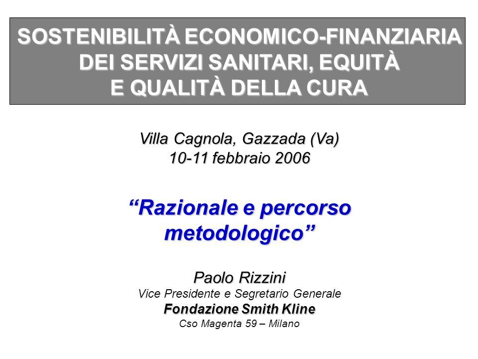 SOSTENIBILITÀ ECONOMICO-FINANZIARIA DEI SERVIZI SANITARI, EQUITÀ E QUALITÀ DELLA CURA Villa Cagnola, Gazzada (Va) 10-11 febbraio 2006 Razionale e perc