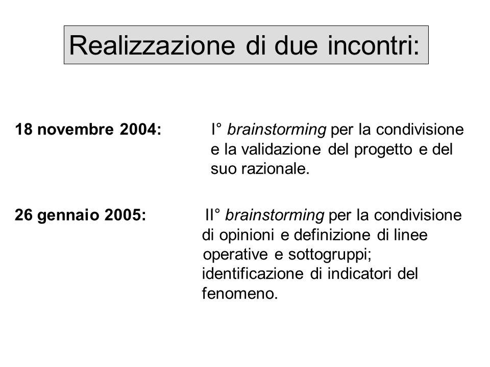 Realizzazione di due incontri: 18 novembre 2004: I° brainstorming per la condivisione e la validazione del progetto e del suo razionale. 26 gennaio 20