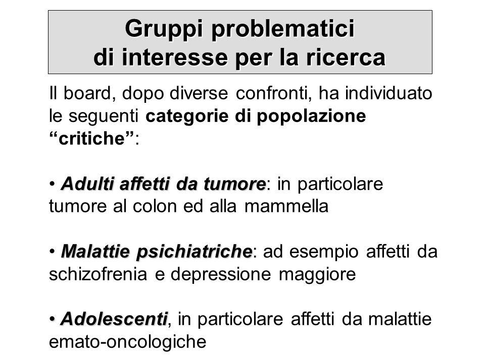 Gruppi problematici di interesse per la ricerca Il board, dopo diverse confronti, ha individuato le seguenti categorie di popolazione critiche: Adulti