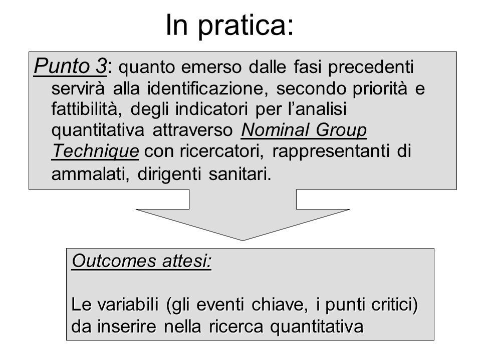 In pratica: Punto 3: quanto emerso dalle fasi precedenti servirà alla identificazione, secondo priorità e fattibilità, degli indicatori per lanalisi q