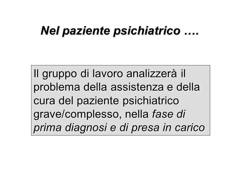 Nel paziente psichiatrico …. Il gruppo di lavoro analizzerà il problema della assistenza e della cura del paziente psichiatrico grave/complesso, nella