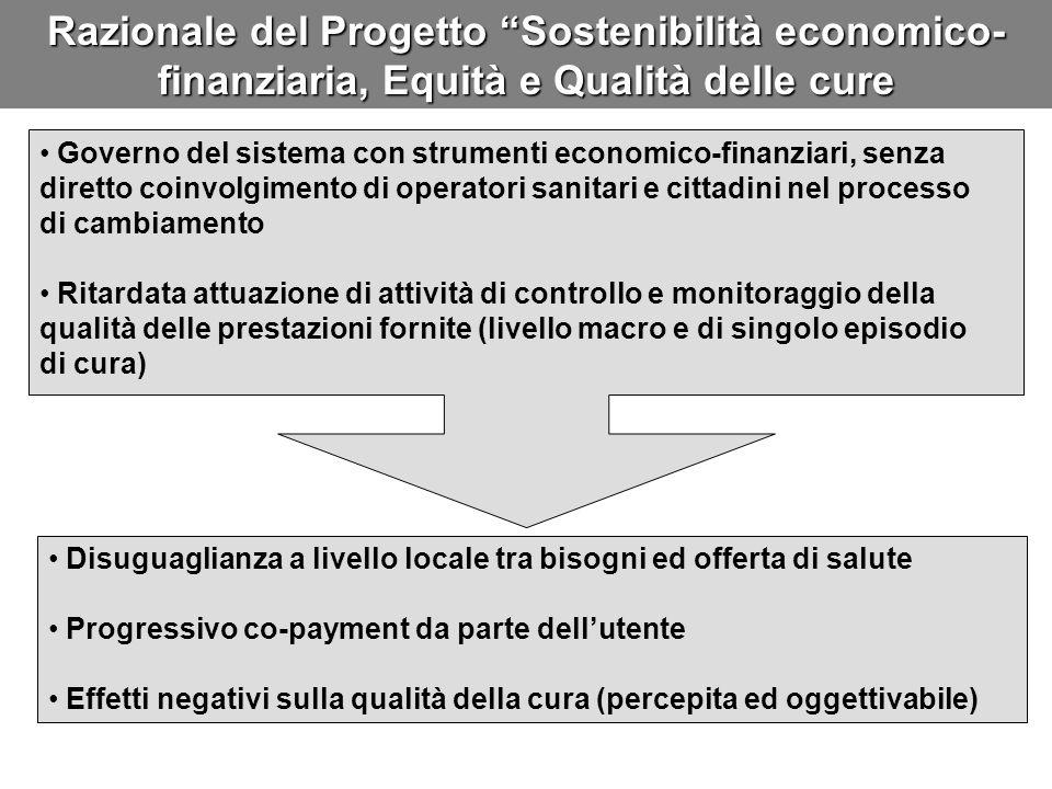 Razionale del Progetto Sostenibilità economico- finanziaria, Equità e Qualità delle cure Governo del sistema con strumenti economico-finanziari, senza