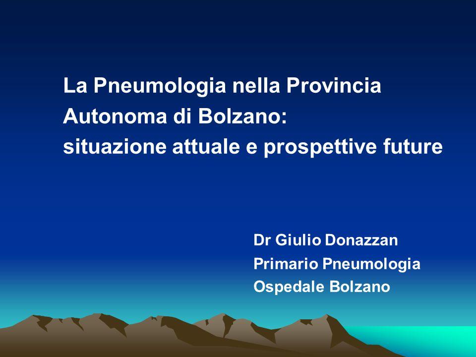 La Pneumologia nella Provincia Autonoma di Bolzano: situazione attuale e prospettive future Dr Giulio Donazzan Primario Pneumologia Ospedale Bolzano