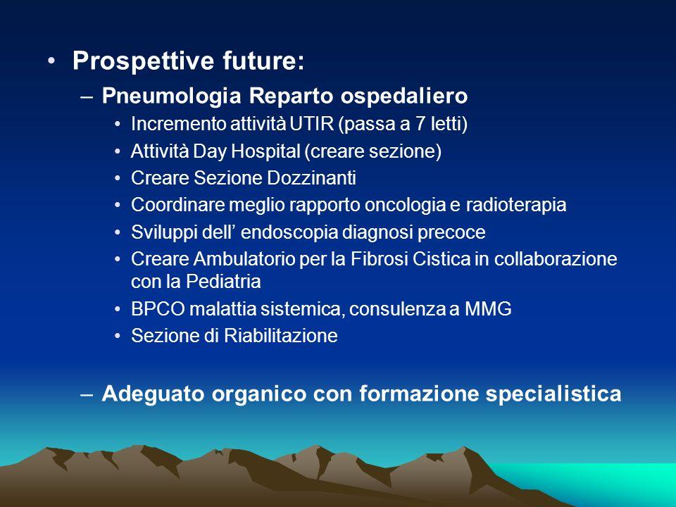 Prospettive future: –Pneumologia Reparto ospedaliero Incremento attività UTIR (passa a 7 letti) Attività Day Hospital (creare sezione) Creare Sezione