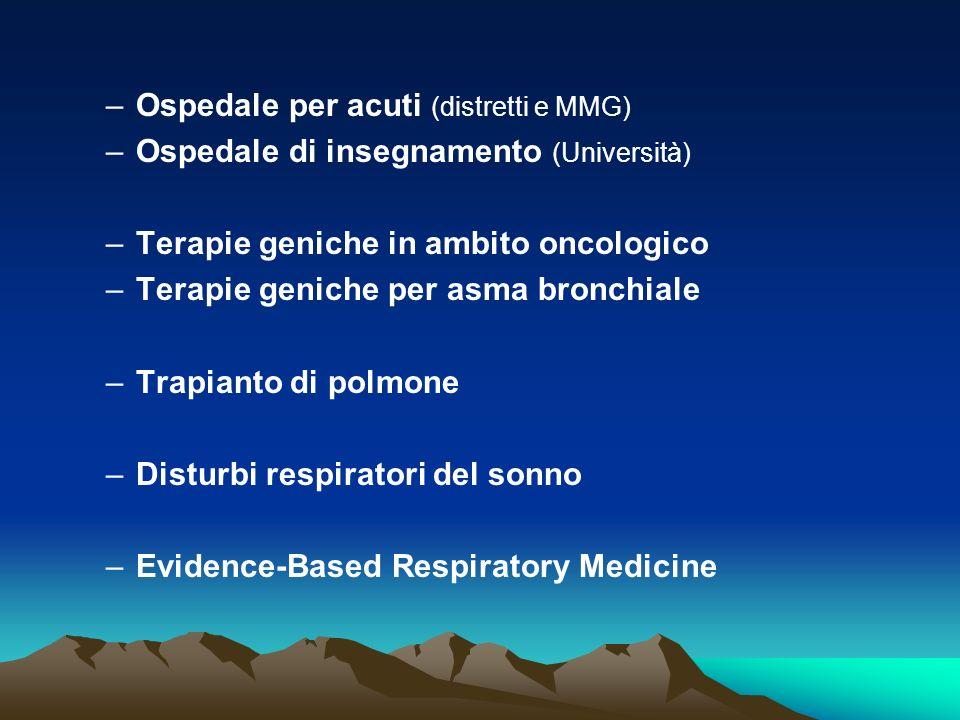 –Ospedale per acuti (distretti e MMG) –Ospedale di insegnamento (Università) –Terapie geniche in ambito oncologico –Terapie geniche per asma bronchial