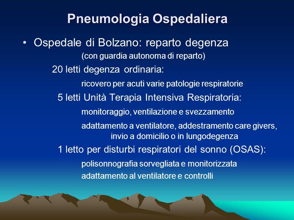 Pneumologia Ospedaliera Ospedale di Bolzano: reparto degenza (con guardia autonoma di reparto) 20 letti degenza ordinaria: ricovero per acuti varie pa