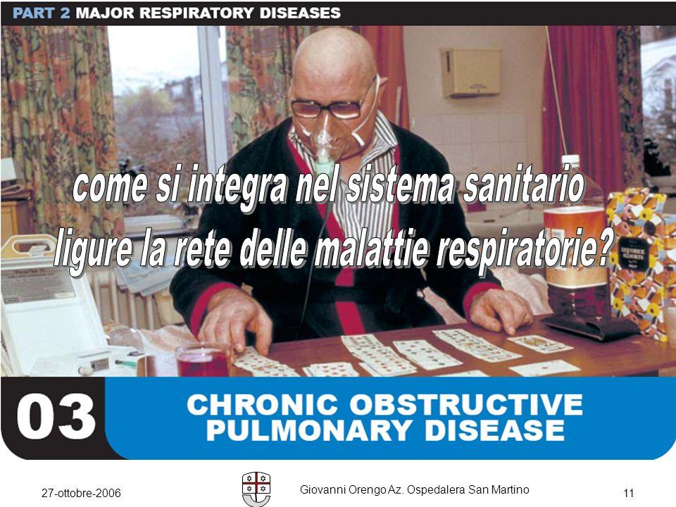 27-ottobre-2006 Giovanni Orengo Az. Ospedalera San Martino 11