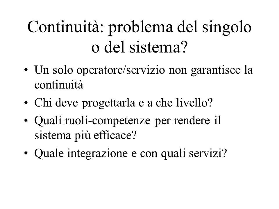 Continuità: problema del singolo o del sistema? Un solo operatore/servizio non garantisce la continuità Chi deve progettarla e a che livello? Quali ru