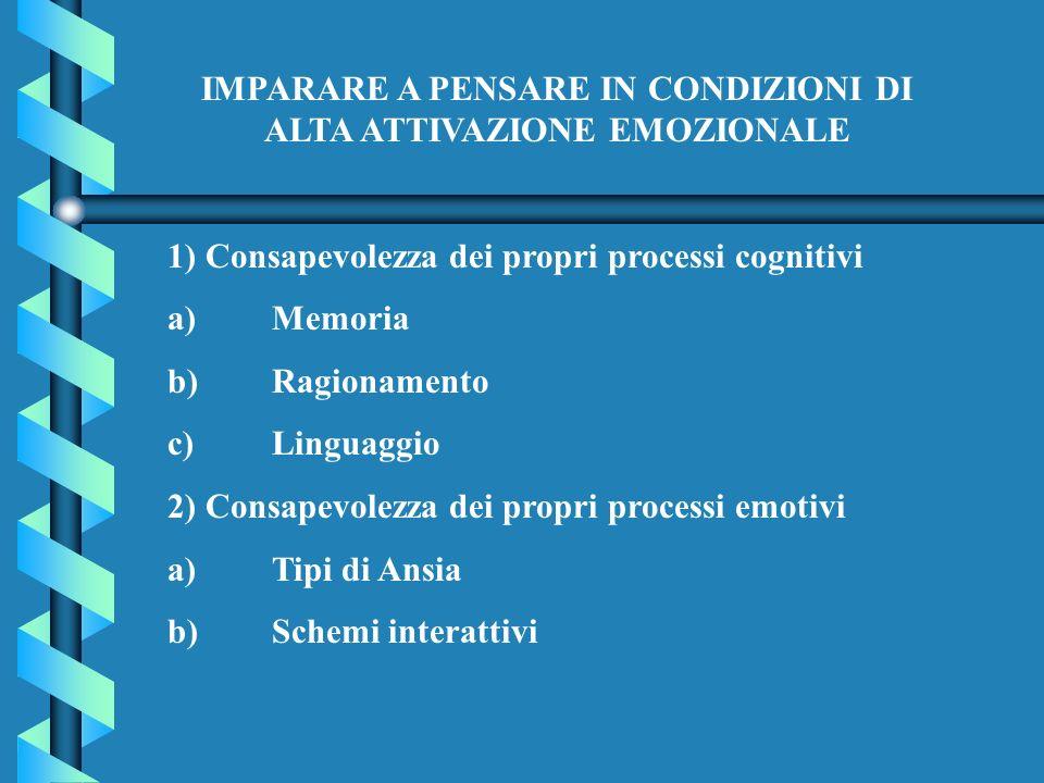 IMPARARE A PENSARE IN CONDIZIONI DI ALTA ATTIVAZIONE EMOZIONALE 1) Consapevolezza dei propri processi cognitivi a)Memoria b)Ragionamento c)Linguaggio