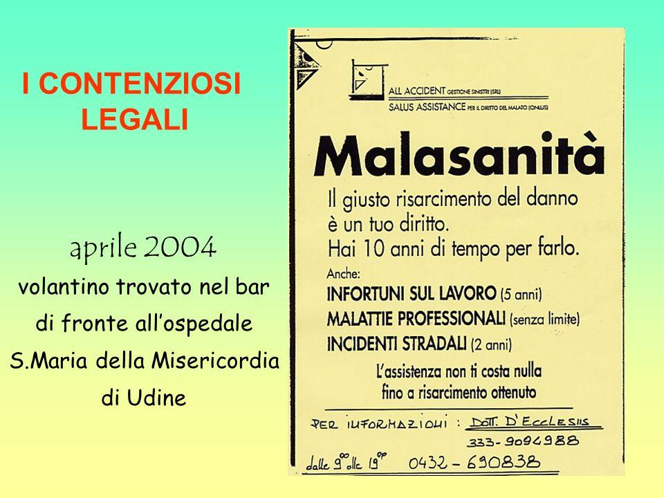 aprile 2004 volantino trovato nel bar di fronte allospedale S.Maria della Misericordia di Udine I CONTENZIOSI LEGALI