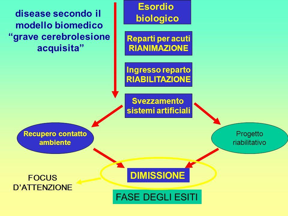 disease secondo il modello biomedico grave cerebrolesione acquisita Esordio biologico Reparti per acuti RIANIMAZIONE Ingresso reparto RIABILITAZIONE S