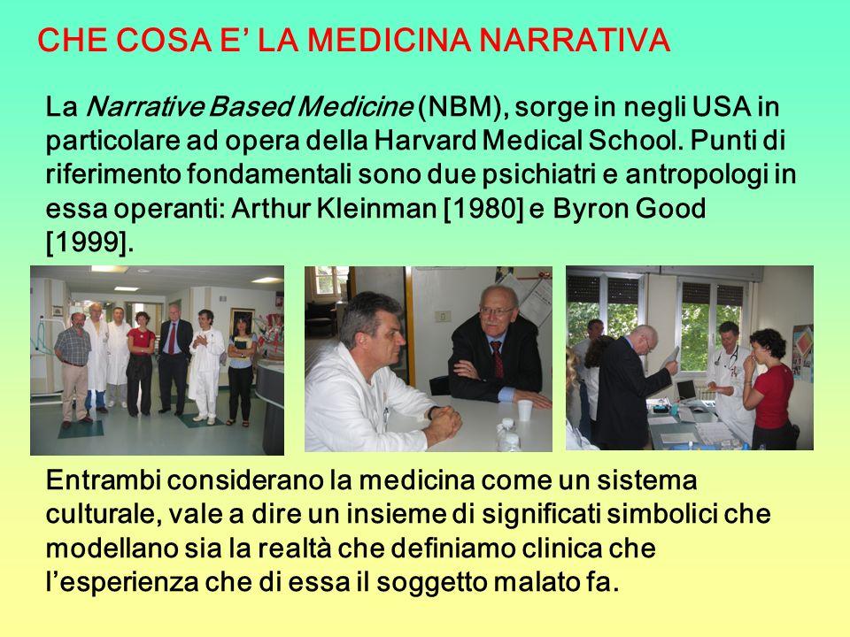La Narrative Based Medicine (NBM), sorge in negli USA in particolare ad opera della Harvard Medical School. Punti di riferimento fondamentali sono due