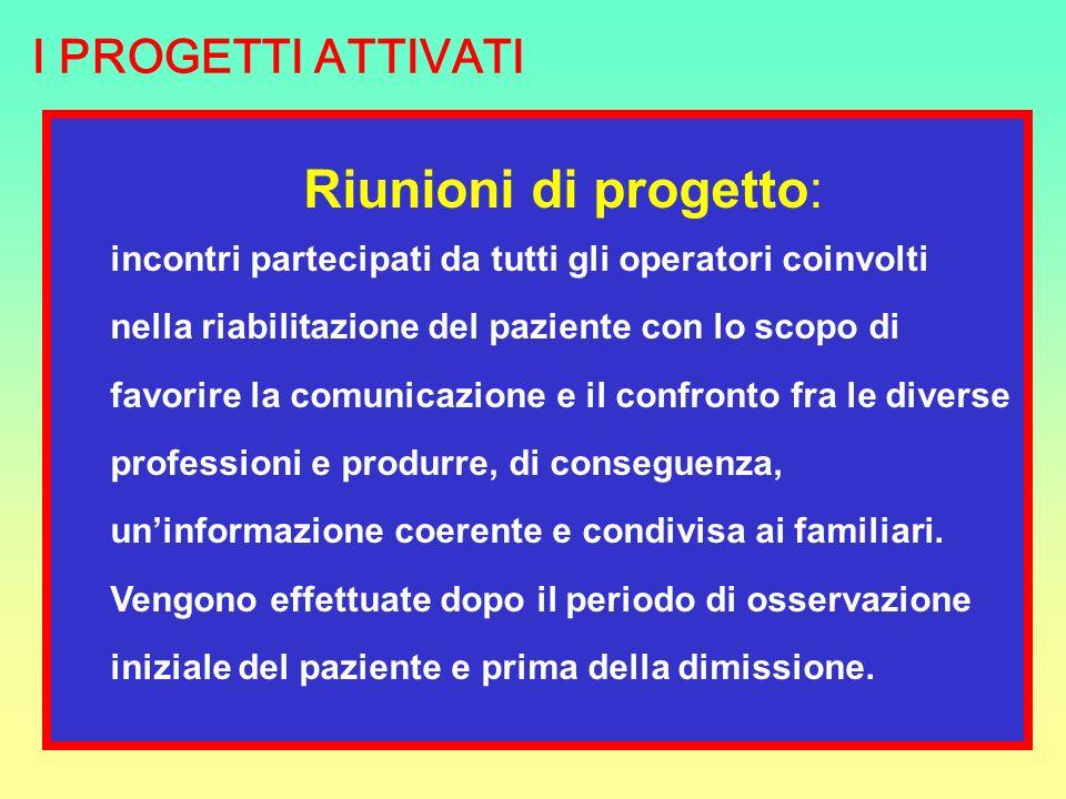 Riunioni di progetto: incontri partecipati da tutti gli operatori coinvolti nella riabilitazione del paziente con lo scopo di favorire la comunicazion