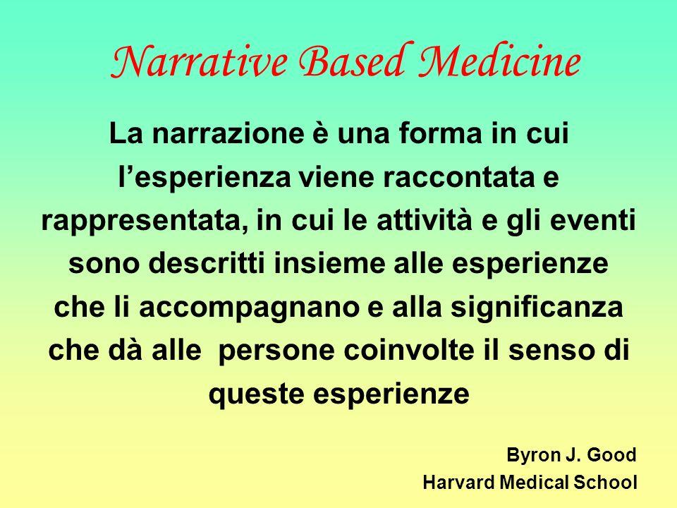 Narrative Based Medicine La narrazione è una forma in cui lesperienza viene raccontata e rappresentata, in cui le attività e gli eventi sono descritti