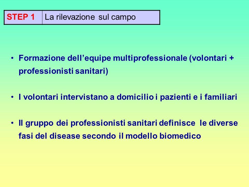 STEP 1La rilevazione sul campo Formazione dellequipe multiprofessionale (volontari + professionisti sanitari) I volontari intervistano a domicilio i p