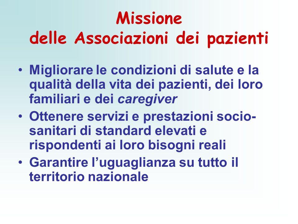 Missione delle Associazioni dei pazienti Migliorare le condizioni di salute e la qualità della vita dei pazienti, dei loro familiari e dei caregiver O