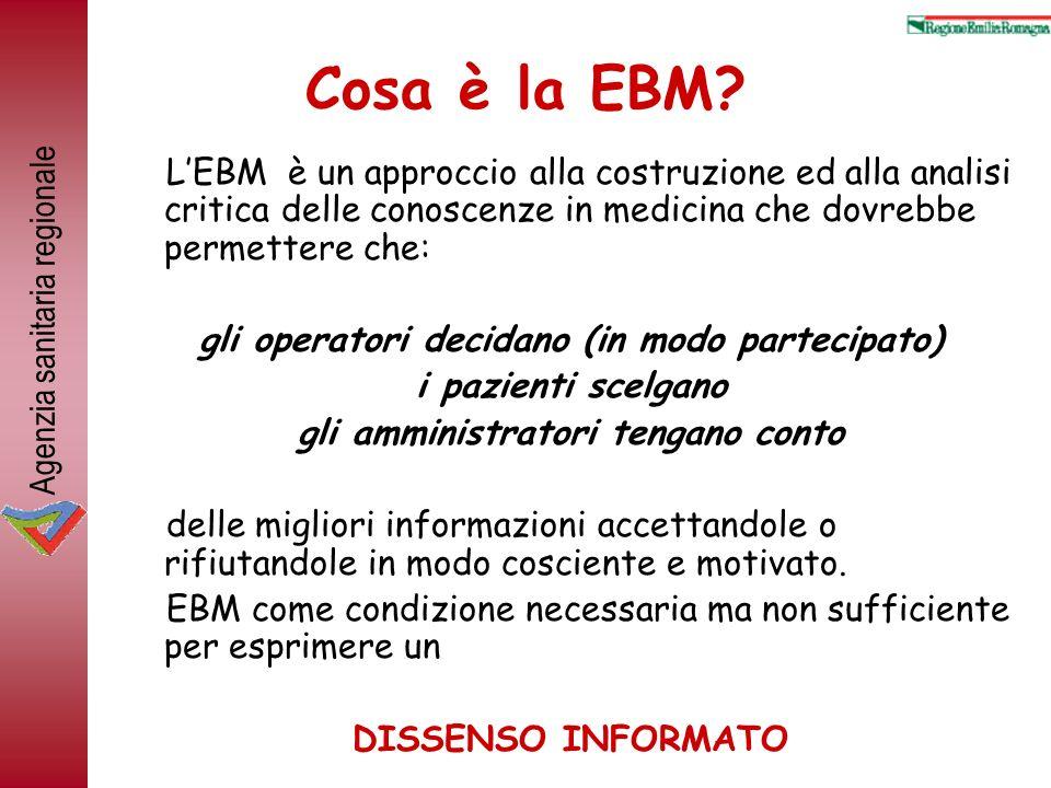Agenzia sanitaria regionale Cosa è la EBM? LEBM è un approccio alla costruzione ed alla analisi critica delle conoscenze in medicina che dovrebbe perm