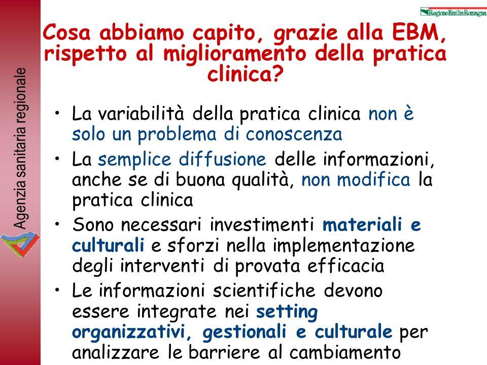 Agenzia sanitaria regionale Cosa abbiamo capito, grazie alla EBM, rispetto al miglioramento della pratica clinica.